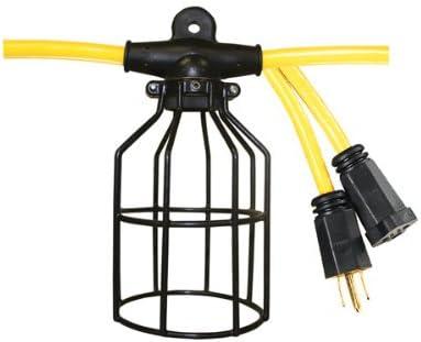 Voltec 08-00200 100ft 12 3 STW 10-Socket Light String w Metal Shades, NEMA 5-15