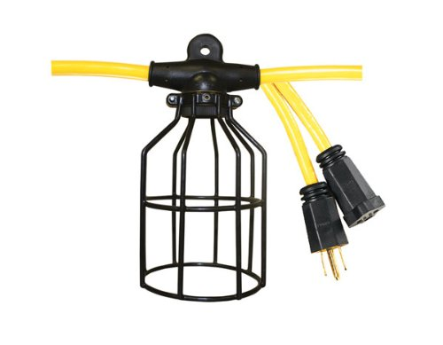 Voltec 08-00199 12/3 STW 5-Light Metal Cage Light String, 50-Foot, Yellow & Black (Construction String Lights)