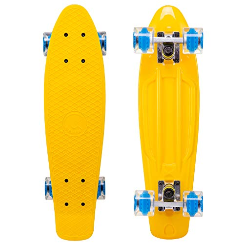 Cal 7 Complete Mini Cruiser | 22 Inch Micro Board | Vintage Skateboard for School and Travel (Sunburst)