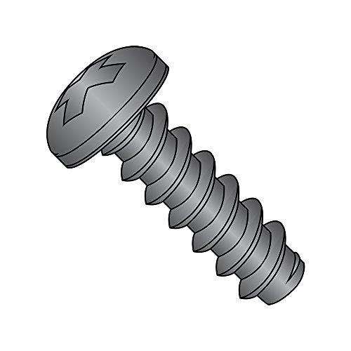 "Steel Sheet Metal Screw, Black Oxide Finish,  Pan Head, Phillips Drive, Type B, #4-24 Thread Size, 1/4"" Length (Pack of 100)"
