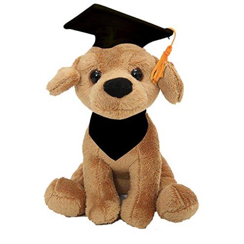Plushland Cuddly Dog Toy, Customize Each Dog with Your School Logo on Its Bandanna, for Graduation Day (Graduation Labrador)]()