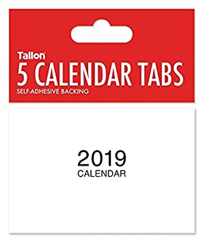 2019 mini calendar tabs with peel and stick back 1 pack of 5 tabs