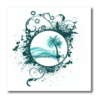 "3dRose ht_152488_3 Two Turquoise Palm Trees & Turquoise Moon Surrounded by Flourishes on A Grunge Background Iron on Heat Transfer, 10 by 10"", for White Material"