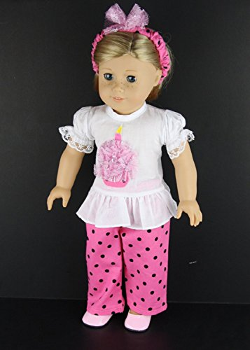 3 Pc Birthday Outfit Complete with White Shirt with Cupcake and Pink Polka Dot Pants and Matching Headband Shoes Sold Seperatelymade to Fit the 18 Inch Doll Like the American Girl Series
