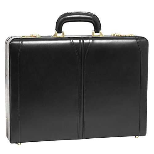 McKleinUSA Lawson [Personalized Initials Embossing] Leather 3.5'' Attache Briefcase in Black by McKlein