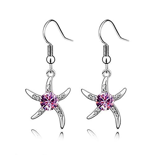 MIXIA Charm Aqua Starfish Fashionable Earrings Fish Hook Sparkling Disc Round Bule Crystal Unique Gift Souvenir (Purple)