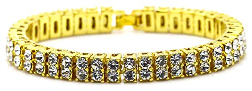 Xusamss Hip Hop Plated 18K Gold Buckle Double Row Crystal Chain Bracelet Bangle,8.0inches