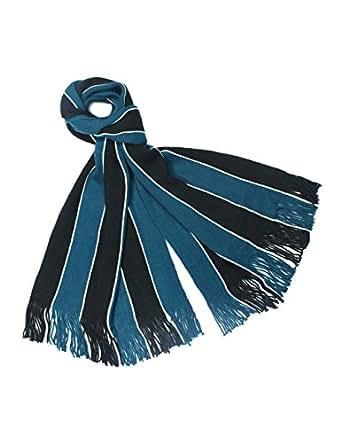 Dahlia Men's Acrylic Long Scarf - Vertical Awning Stripes - Blue/Black