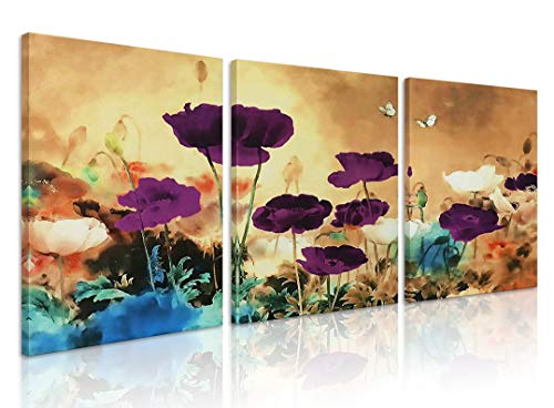 Natural art Abstract White and Purple Flowers Flying Butterflies Paintings on Canvas with Wooden Frame for Wall Decoration 12x16 Inch 3 Panels (And Art Flowers Wall Butterflies)