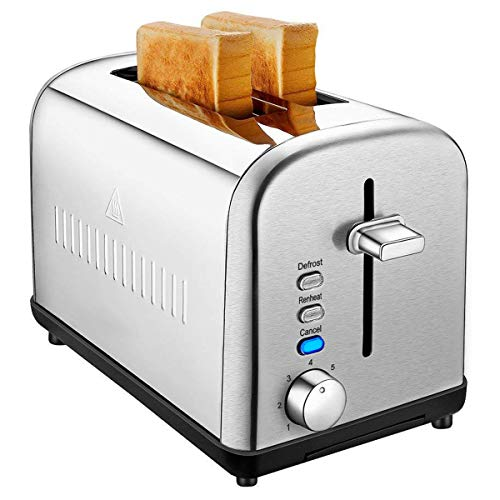 2 Slice Toaster, Cool Touch Stainless Steel Toaster Two Slice Toaster with 7 Bread Shade Settings, Defrost/Reheat/Cancel Function, Extra Wide Slots, Removable Crumb Tray, 850W, Silver For Sale