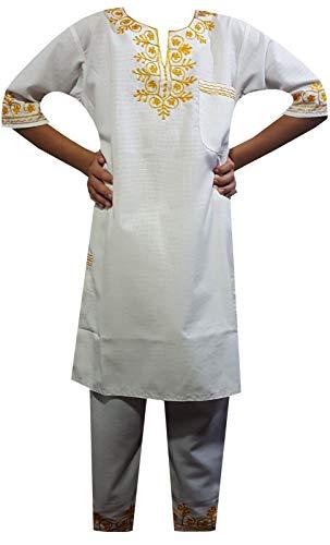 (Decoraapparel African Kente Brocade Suit Traditional Dashiki Boy Pant Set Wedding Suit with Big Hat White)