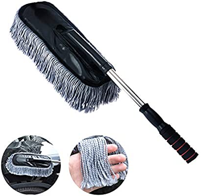 Car and Home Duster Microfiber Duster The Best Microfiber Multipurpose Duster Exterior or Interior Use Home Cleaning For Dust and Snow Removing Long Unbreakable Extendable Handle Gray square