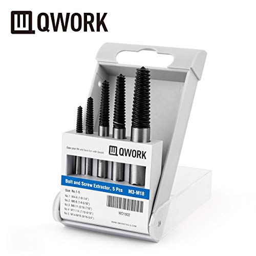QWORK Screw Extractor Easy Out Damaged Bolt Extractor Kit Stripped Broken Screw Remover for M4-M18 (1/8
