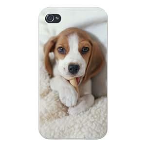 2015 CustomizedApple Iphone Custom Case 5 / 5s White Plastic Snap on - Cute Puppy Dog Beagle Chewing on Bone