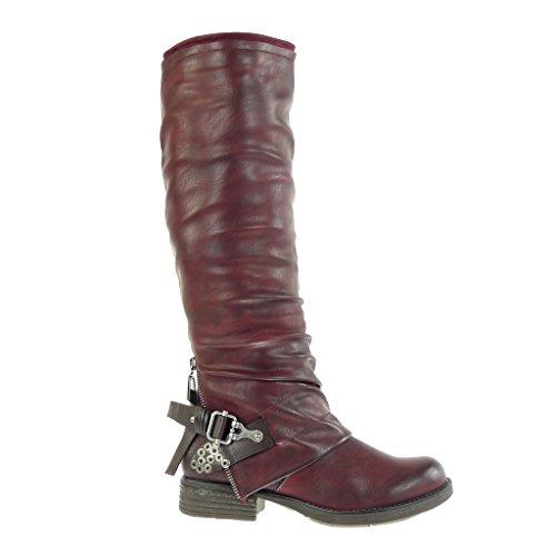 Angkorly - damen Schuhe Stiefel - Biker - Reitstiefel - Kavalier - Geflochten - Nieten - besetzt - Schleife Blockabsatz 3 CM Burgunderrot