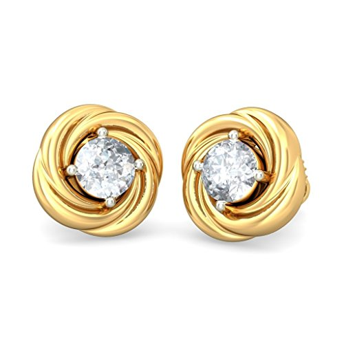 14 K jaune Or 0,22 CT TW White-diamond (IJ | SI) Boucles d'oreille à tige