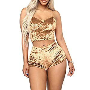 TOP-MAX Womens Sexy Velvet 2 Pieces Romper Outfit – Spaghetti Strap Crop Top Camisole and Shorts Pajama Active Bottom…
