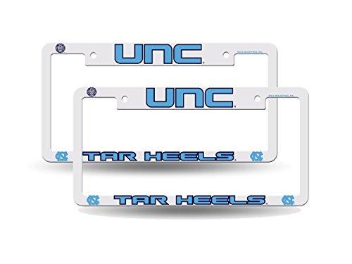 North Carolina Tar Heels NCAA Raised Letter White Plastic License Plate Frame Set (Heels Tar License Plate Plastic)