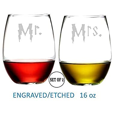 Mr Mrs Harry P Inspired Stemless Wine Glasses Hand Made Etched Engraved Perfect Funny for Gift Him Her BFF Fans Friends Set of 2