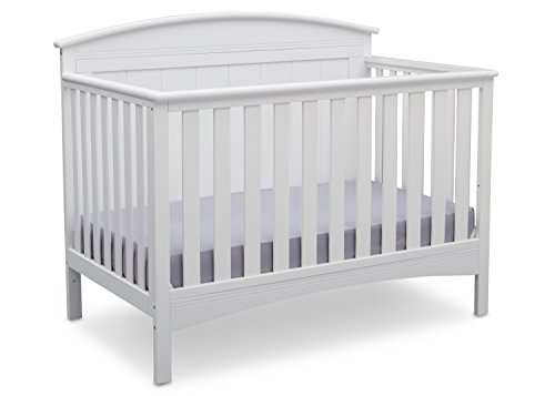 (Delta Children Archer Solid Panel 4-in-1 Convertible Baby Crib, Bianca White)