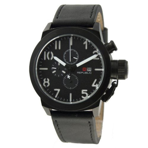 Republic Mens Black Leather Analog Chronograph Quartz Watch RP1069