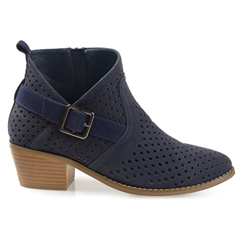 Brinley Co Womens Perforated Faux Suede Stacked Heel Asymmetrical Booties Navy