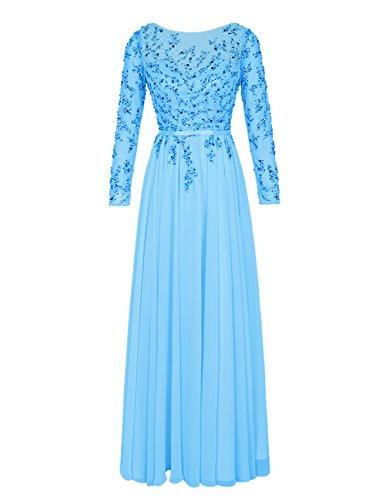 Bbonlinedress Vestido De Mujer Ceremonia Fiesta Con Mangas Largas Espalda Descubierta Azul