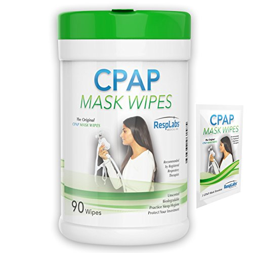 RespLabs Original CPAP Mask Wipes, 90 pack | Unscented, Biodegradable with Natural Formula | Includes Sample Travel Wipe & Free eBook