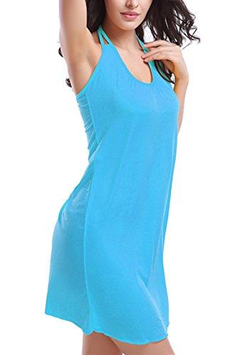 FASHION TTI Womens Beach Tankini Bikini Swimsuit Dress (Medium, SkyBlue)