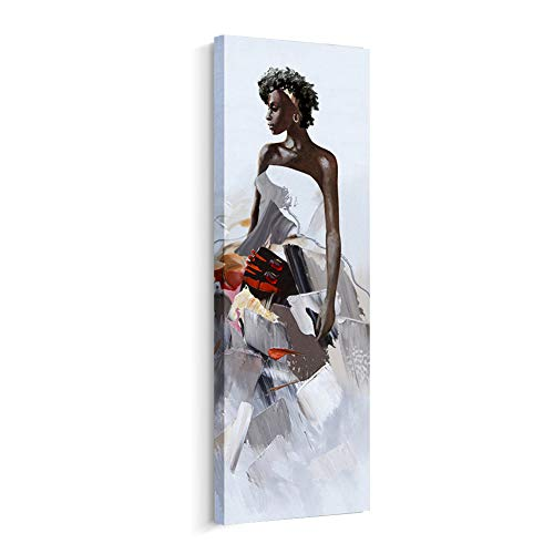 (Artinme Framed African American Black Art Dancing Black Women in Dress Wall Art Painting on Canvas Print Wall Picture for Home Accent Living Room Wall Decor (12 x 36 inch, A))