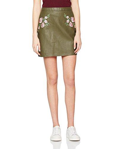 New Look Embroidered Pu, Falda para Mujer Verde (Dark Khaki)