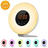 Sunrise Alarm Clock - Digital LED Clock with 7 Color Switch and FM Radio for Bedrooms - Multiple Nature Sounds Sunset Simulation & Touch Control - with Snooze Function for Heavy Sleepers