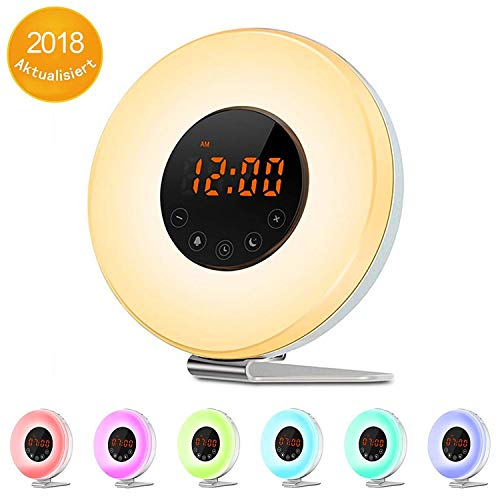 Sunrise Alarm Clock - Digital LED Clock with 7 Color Switch and FM Radio for Bedrooms - Multiple Nature Sounds Sunset Simulation & Touch Control - with Snooze Function for Heavy Sleepers by WEIJI