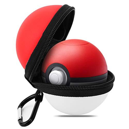 MoKo Case for Nintendo Switch Poke Ball Plus Controller, Portable Protective EVA Travel Carrying Case Travel Storage Bag for Nintendo Switch Pokeball Plus Controller - Red + White