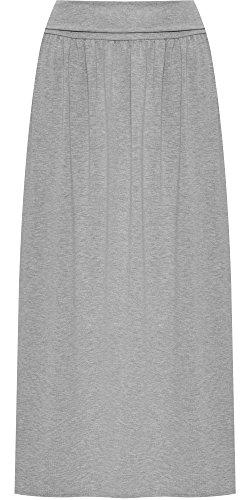 WearAll Femmes Plus Plier lastique Taille Plein Longueur Maxi Jupe Dames tendue Plaine - 44-50 Gris Clair