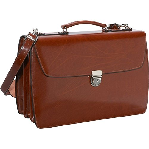 Jack Georges Elements Collection Triple Gusset Flap Over Briefcase in Cognac