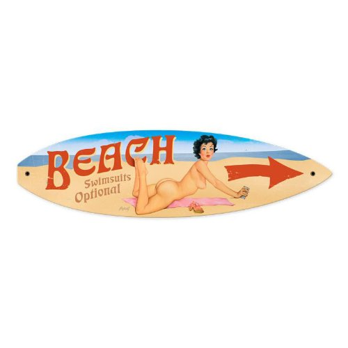 Nude Chica Pinup de playa para tabla de surf Metal Sign - Victory de estilo Vintage: Amazon.es: Hogar