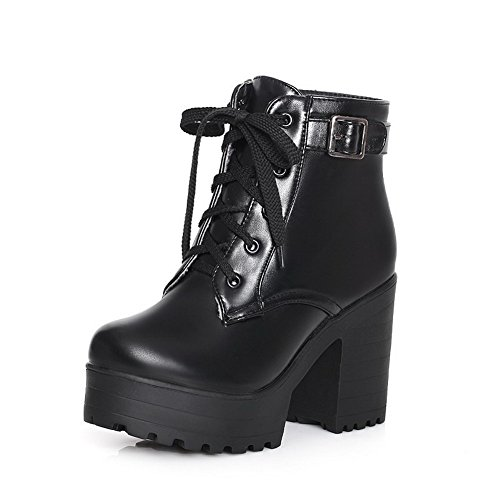 Allhqfashion Women's Soft Material Lace-up Round Closed Toe High-Heels Low-Top Boots Black uxUdkPS