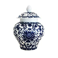 Ancient Chinese Style Blue and White Porcelain Helmet-shaped Temple Jar (Small size)