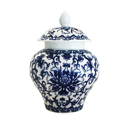 Ancient Chinese Style Blue and White Porcelain Helmet-shaped Temple Jar (Small size)]()