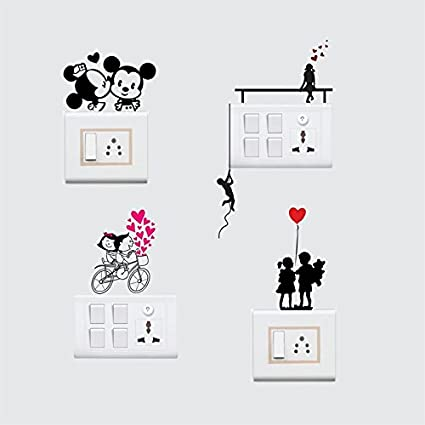 Sticker Yard Love Couple Wall Decal Switchboard Sticker Color Multicolor Pvc Vinyl Matte Sheet Size 25cm X 25cm Set Of 4