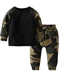 Newborn Infant Baby Boys Girls Camouflage Tops Pants Outfits Clothing Pants Set