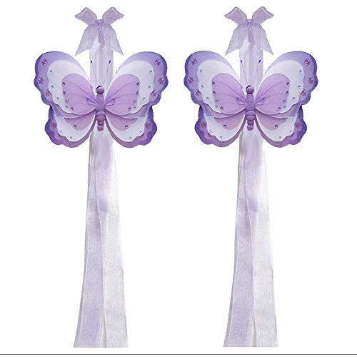 Bugs-n-Blooms Butterfly Curtain Tiebacks Purple Lavender White Triple Layered Nylon Decorations Window Treatment Holdback Tie Back Pair Set by Bugs-n-Blooms