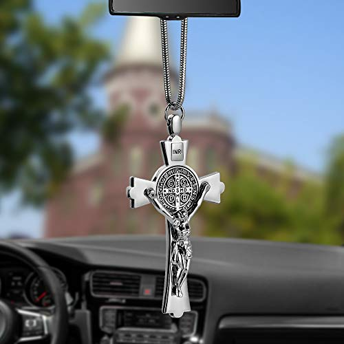 (EING Metal And Crystal Diamond Cross Jesus Christian Car Rear View Mirror Pendant Hanging Car Styling Accessories Auto Decoration,Silver )