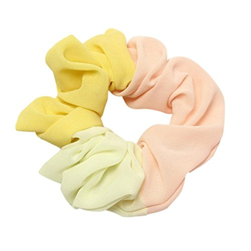 - Clearance Sale! Hair Scrunchies for Women Girls, Iuhan Solid Women Hair Elastics Scrunchies Chiffon Scrunchy Bobbles Soft Elegant Elastic Hair Bands Hair Ties (D-Yellow)