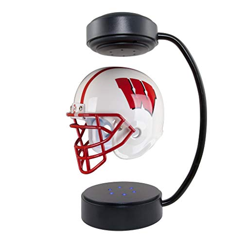 Wisconsin Badgers NCAA Hover Helmet - Collectible Levitating Football Helmet with Electromagnetic Stand - Magnet Levitation Set