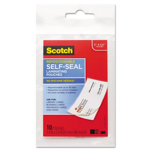 Seal Laminating Card - Scotch Repositionable Self-Seal Laminating 2.4 x 3.8 Inches Pouch, Business Card Size, 10 Pouches LSR851-10G)