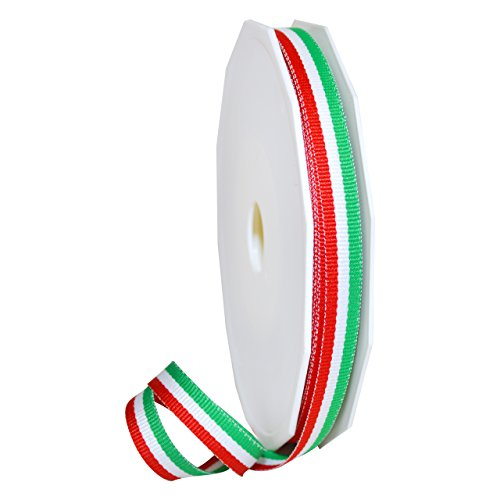 Italian Ribbon (Morex Ribbon 99502/20-816 Polyester Grosgrain Stripes, 3/8