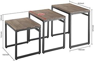 MyGift Set of 3 Black Metal Nesting End Tables