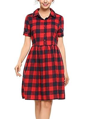 ACEVOG Women's Vintage Casual Shirt Collar Polo Neck Short Sleeve Button Plaid A-Line Dress